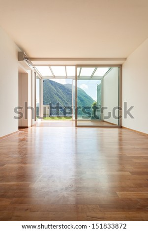 Interior apartment with garden, empty room