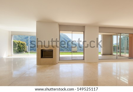 Interior apartment with garden, large room with windows