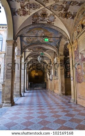Interior Archiginnasio of Bologna. Emilia-Romagna. Italy.