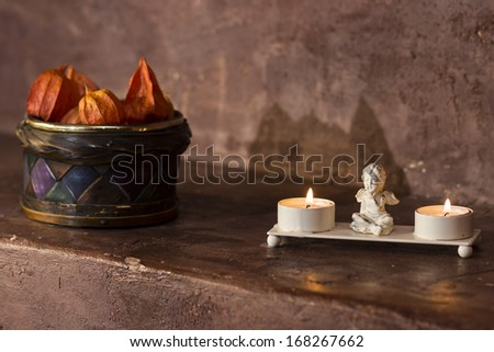Interior at a romantic restaurant with candles