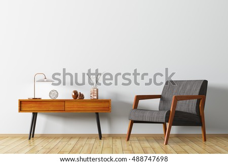 Interior background of living room with wooden side table and armchair 3d rendering