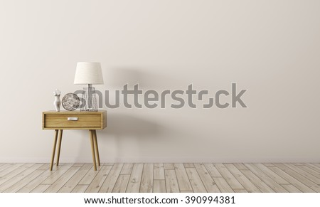 Interior background of living room with wooden side table 3d render