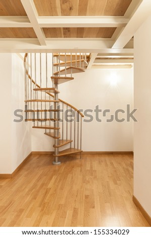 Interior, beautiful apartment, spiral staircases