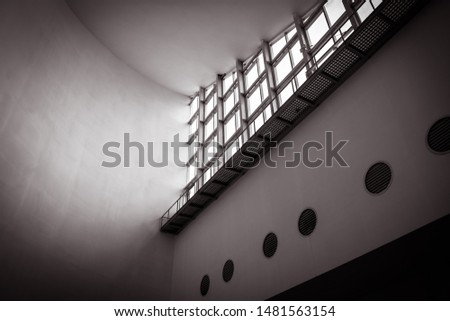 Interior building with windows and wall. Abstract photo. Inside building architecture background. Structure building with black and white. #1481563154