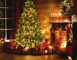 interior christmas. magic glowing tree, fireplace, gifts in  dark at night