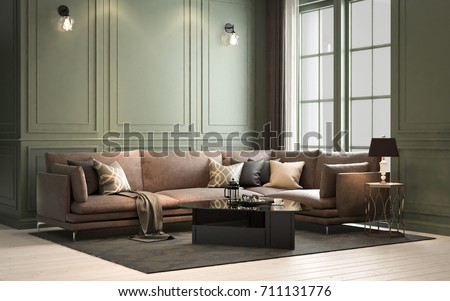 Interior classic living, retro classical style, with loose furniture, 3D rendering, 3D illustration