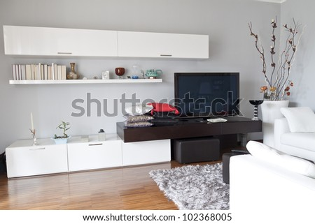 Interior decoration of a apartment, flat tv white furniture
