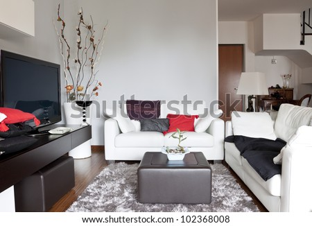Interior decoration of a living room, sofa and tv