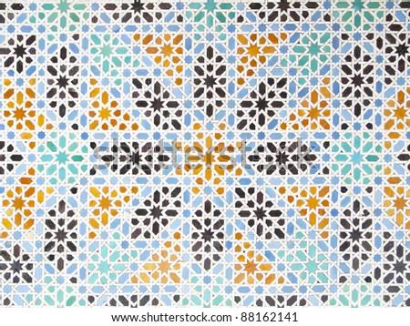 interior decoration of Alcazar in Seville, Spain