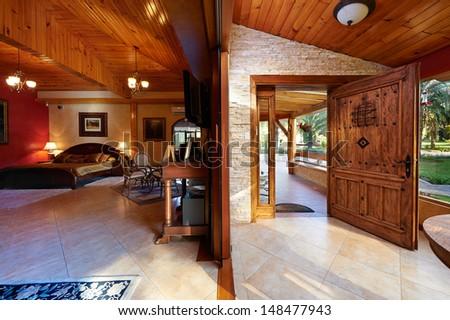 Interior design: Big classic bedroom - stock photo