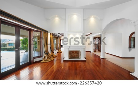 interior design big empty living room stock photo