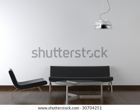 interior design black living room furniture and lamp on white wall with copy scape