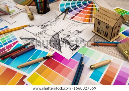 Interior design concept - apartment sketch with color palette and tools Foto stock ©