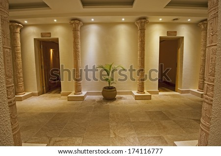 Interior design concept of a luxury health spa with two massage rooms and egyptian theme