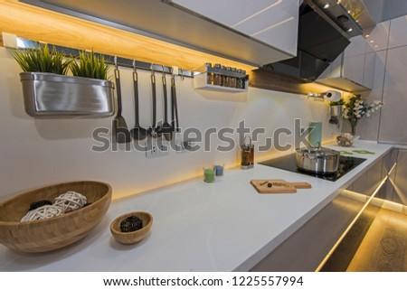 Interior design decor showing modern kitchen and appliances in luxury apartment showroom #1225557994