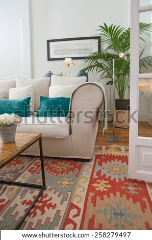 Interior design detail of a home living room with a white sofa with cushions and plants, interior view. House indoors with carpets and character design. Tranquil and aspirational home space.