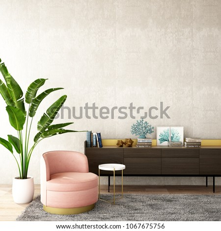 interior design for living area or reception with grey carpet , armchair,plant,cabinet on wood floor and concrete background / 3d illustration,3d rendering