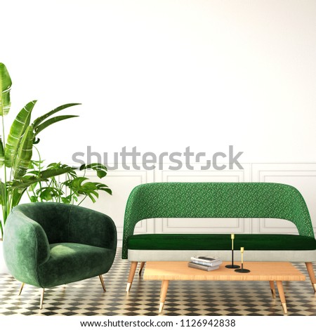 interior design for living area or reception with sofa ,plant,cabinet on wood floor and black color background / 3d illustration,3d rendering