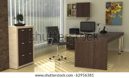 Interior design for Modern office corner in a warm morning sunlight