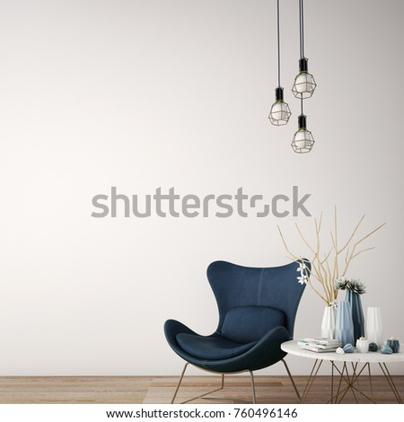 interior design for reception area in modern style with plant , jean armchair  ,table and many props on wood floor and white wall /3d rendering/3d illustration