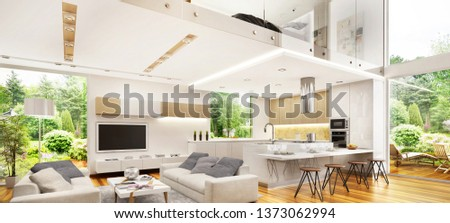 Interior design in a large modern house. Modern kitchen, living room and bedroom. 3D rendering