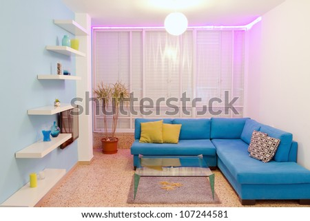 Interior design in a new house. Different colors of lighting
