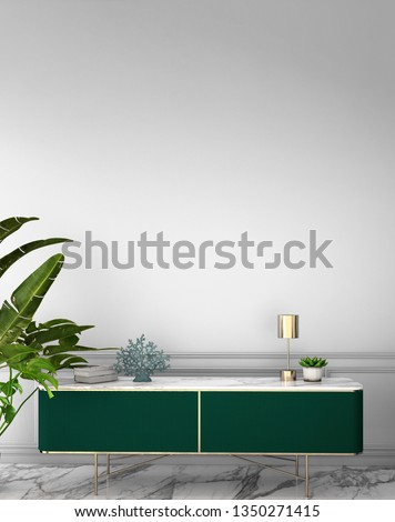 interior design in contemporary style with cabinet on marble floor and white wall background,3d illustration,3d rendering
