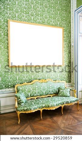 interior design in green color - stock photo