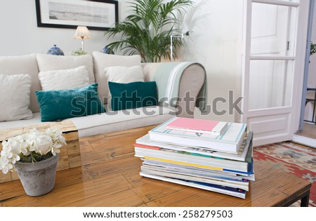 Interior design lifestyle detail of a home living room with white sofa and green cushions and plants, interior view. House indoors with carpets and picture frame. Aspirational lifestyle home space.