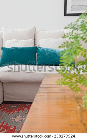 Interior design lifestyle detail of a home living room with white sofa and green cushions and plants, interior view. House indoors with carpets and coffee table. Tranquil and aspirational home space.