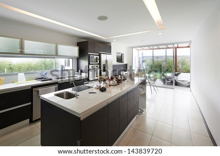 Interior design modern big kitchen stock photo 143839720 for Kitchen designs big