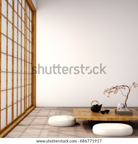 interior design,modern living room with sofa,armchair,table,lamp,wood floor and  white wall,was designed specifically for the big family who love in japanese style,3d illustration,3d rendering