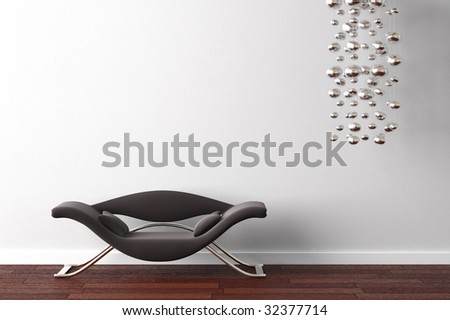 interior design od modern black armchair and hanging lamp on white wall - stock photo