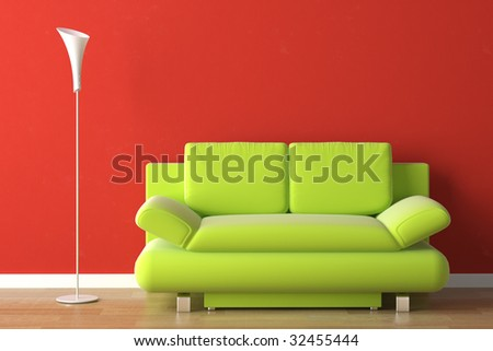 Interior design of a green modern couch on a red wall - Red and green interior design ...