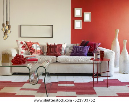 Interior design of a luxury living room, modern lamp