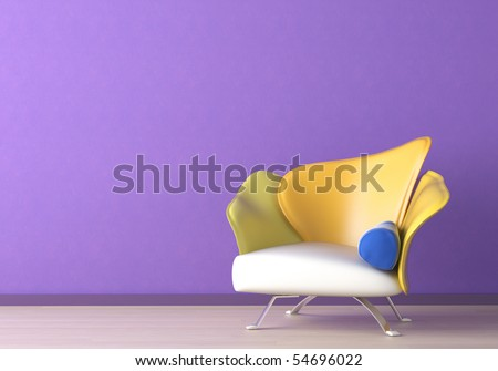 Interior design of a modern armchair against a violet wall with copy space on the top left corner