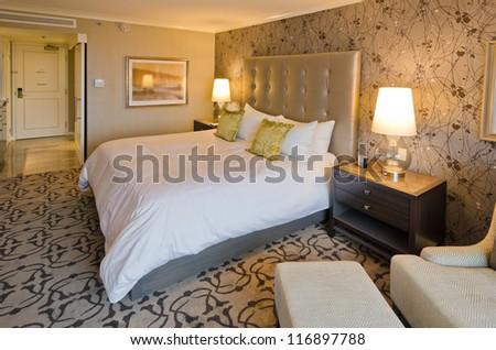 Interior design of a modern luxury bedroom. - stock photo