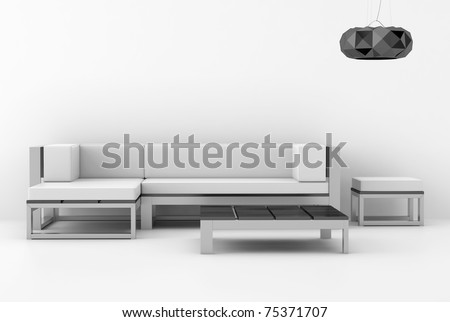 Interior design of a modern white interior with sofa and lamp