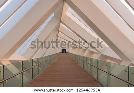 Interior design of a pedestrian bridge in Dubai #1254469534