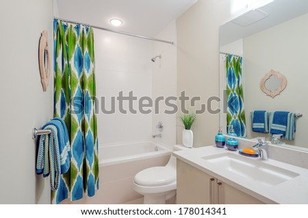 Interior design of a spacious and elegant bathroom #178014341