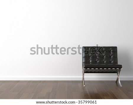 interior design of black barcelona chair on a white wall