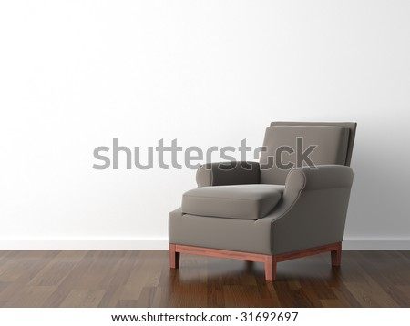 interior design of brown armchair against a white wall with copy space