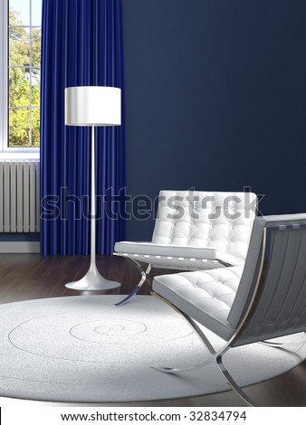 interior design of classic blue room with two white barcelona chairs
