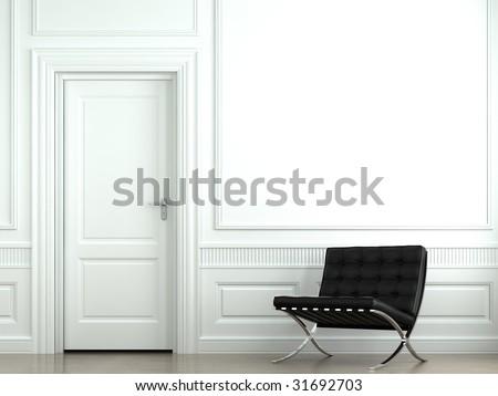 interior design of classic white interior with black barcelona chair
