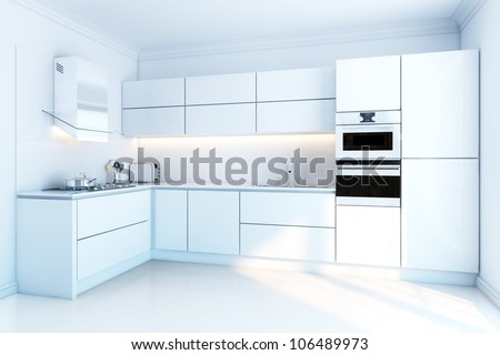interior design of clean modern white kitchen