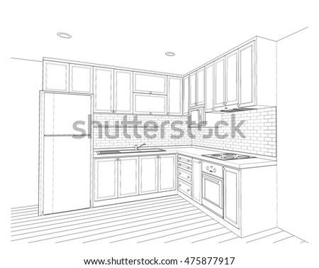 Interior design of country style kitchen 3d outline sketch perspective 475877917
