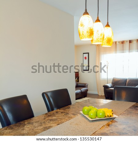 Interior design of dining room in a new house