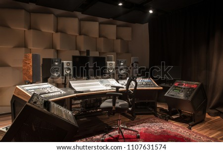 Interior design of empty recording studio with equipment #1107631574