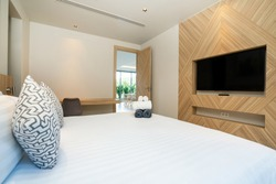 Interior design of house, home, condo and villa feature double bed,  and dressing table in bedroom, white space