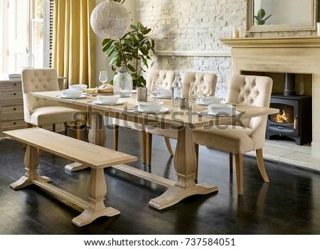 Interior design of luxury apartment dining room #737584051